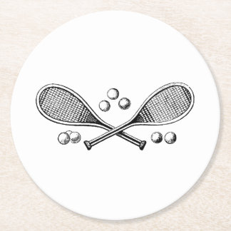Sports Vintage Crossed Tennis Rackets Tennis Balls Round Paper Coaster
