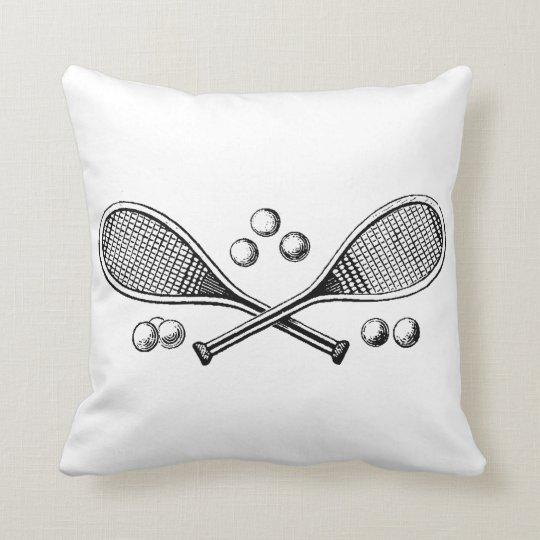 Sports Vintage Crossed Tennis Rackets Tennis Balls Throw Pillow