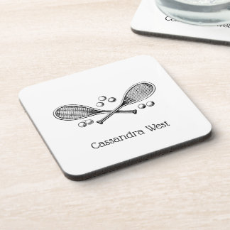 Sports Vintage Crossed Tennis Racquet Tennis Balls Coaster