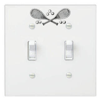 Sports Vintage Crossed Tennis Racquet Tennis Balls Light Switch Cover