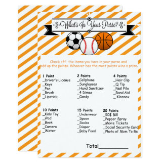 Sports What's in Your Purse Baby Shower Game Card