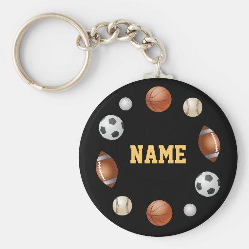 Sports World Personalized Keychain - Black