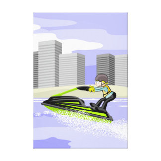 Sportsman in its jet ski by the boulevard of the canvas print