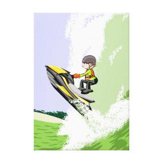 Sportsman of jet ski alcansado by a great wave canvas print
