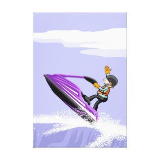 Sportsman of jet ski makes a gesture of profit canvas print