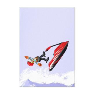 Sportsman of jet ski undergoes a spectacular fall canvas print