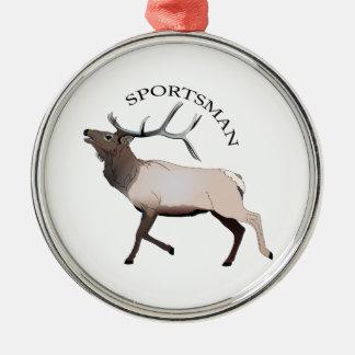 SPORTSMAN Silver-Colored ROUND ORNAMENT