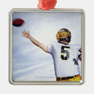 sportsman playing with rugby ball Silver-Colored square ornament
