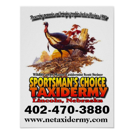 SPORTSMAN'S CHOICE TAXIDERMY POSTER WHITE