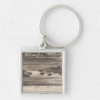 Sportsmans Home, Squan Beach, NJ Silver-Colored Square Keychain