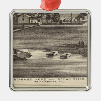 Sportsmans Home, Squan Beach, NJ Silver-Colored Square Ornament