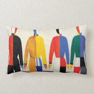 Sportsmen by Kazimir Malevich Lumbar Pillow