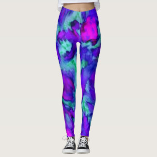 Sporty Abstract Art Purple Floral Sports Leggings