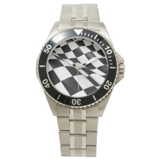Sporty Auto Racing Chequered Flag Checkered Flag Watch