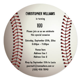 "Sporty Baseball 100th Birthday Party Double Sided 5.25"" Square Invitation Card"
