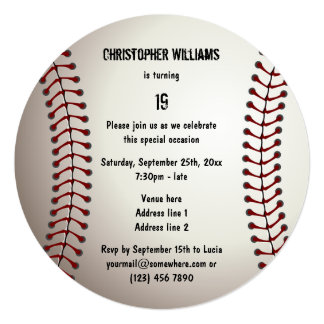 "Sporty Baseball 19th Birthday Party Double Sided 5.25"" Square Invitation Card"