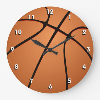 Sporty Basketball ball wall clock with numbers