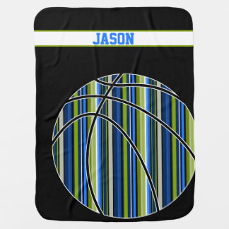 Sporty blue green stripe basketball baby blanket