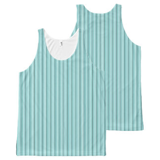 Sporty-Blue-Stripe-Casual-Women's-Tank-Top All-Over-Print Tank Top