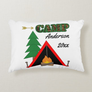 Sporty Camping Campfire Tent Name Decorative Pillow