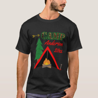 Sporty Camping Campfire Tent Name T-Shirt