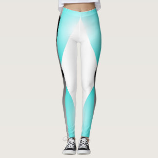 Sporty Chic Turquoise Grey White Sports Pants