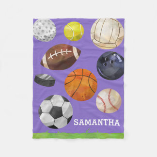 Sporty Cluster Custom Name Purple Fleece Blanket
