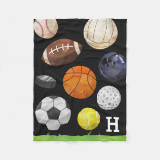 Sporty Cluster Monogram Black Fleece Blanket