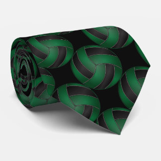 Sporty Dark Green and Black Volleyball Tie