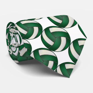 Sporty Dark Green and White Volleyball Tie