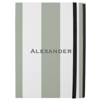 "* Sporty Desert Green and White Stripes iPad Pro iPad Pro 12.9"" Case"