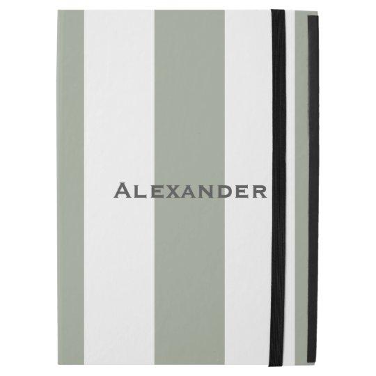 "* Sporty Desert Green and White Stripes iPad Pro iPad Pro 12.9"" Case"