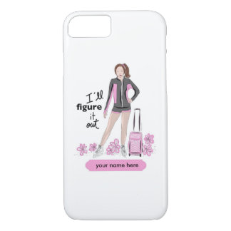 Sporty Figure Skater with Skating Bag iPhone 8/7 Case