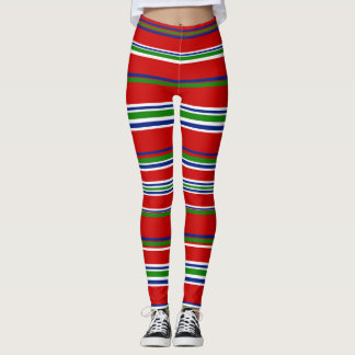 Sporty Fun Fashion Style Red Blue Green Striped Leggings