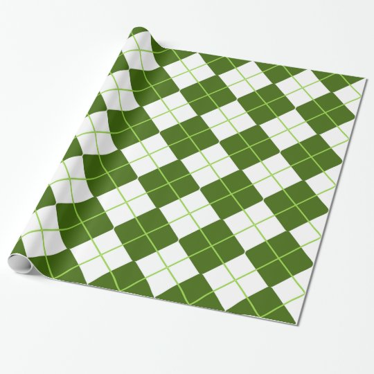 Sporty Green Argyle Print Wrapping Paper