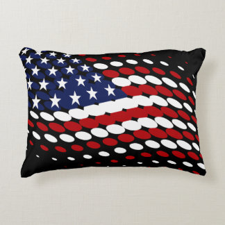 Sporty Halftone USA American Flag Accent Pillow