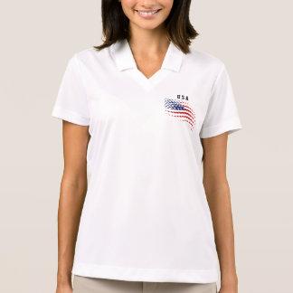 Sporty Halftone USA American Flag Polo Shirts