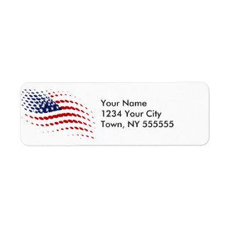 Sporty Halftone USA American Flag Return Address Label