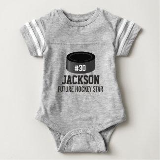 Sporty Hockey Puck Custom Baby Name, Number, Team Baby Bodysuit