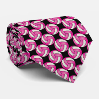 Sporty Hot Pink and Black Volleyball Tie