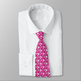 Sporty Hot Pink and White Volleyball Tie