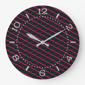 Sporty Industrial Automotive Textures Pink on a Large Clock