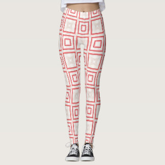 Sporty Leggings with White Squares & Red Outlines