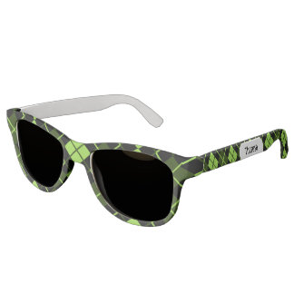 Sporty Lime Green Forest Black Argyle Monogrammed Sunglasses