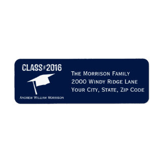 Sporty Prep Graduation Cap Class of 2016 Return Address Label