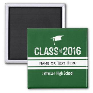 Sporty Prep Stripe Graduation Cap Class of 2016 Square Magnet