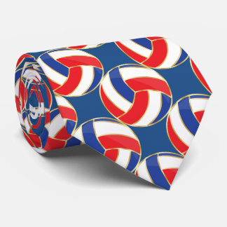 Sporty Red, White, Blue with Gold Trim Volleyball Tie