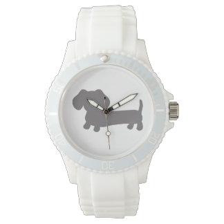 Sporty White Silicone Wiener Dog Watch