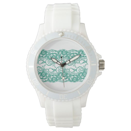 Sporty White Watch with Teal Lace Face