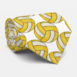 Sporty Yellow and White Volleyball Tie